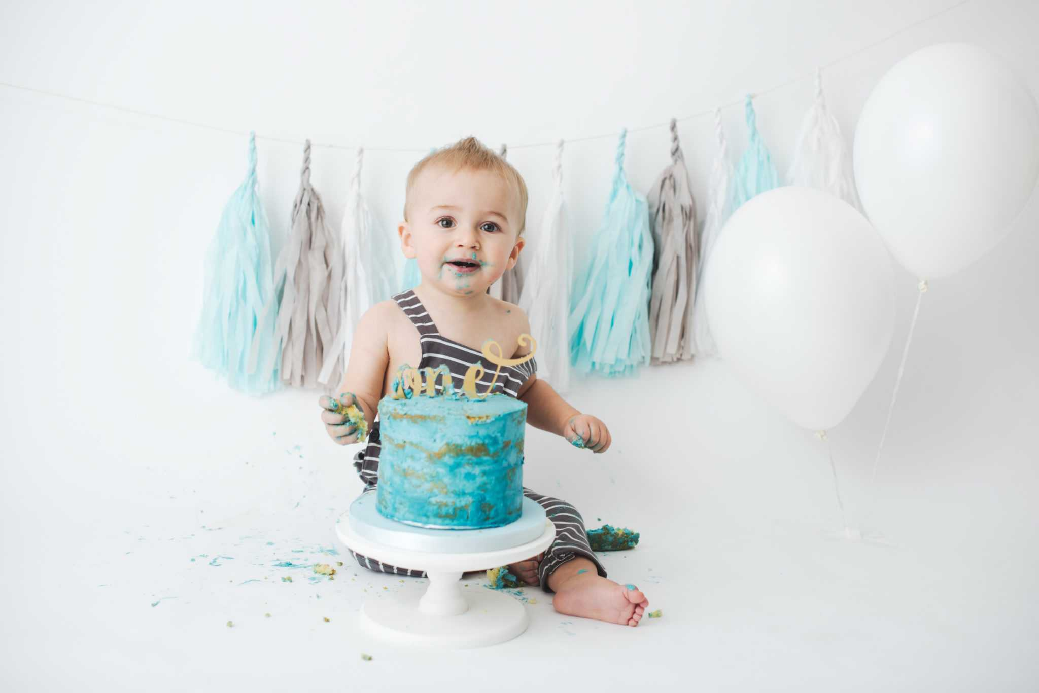Baby Boy Blue Cake Smash Photo Cheadle Hulme