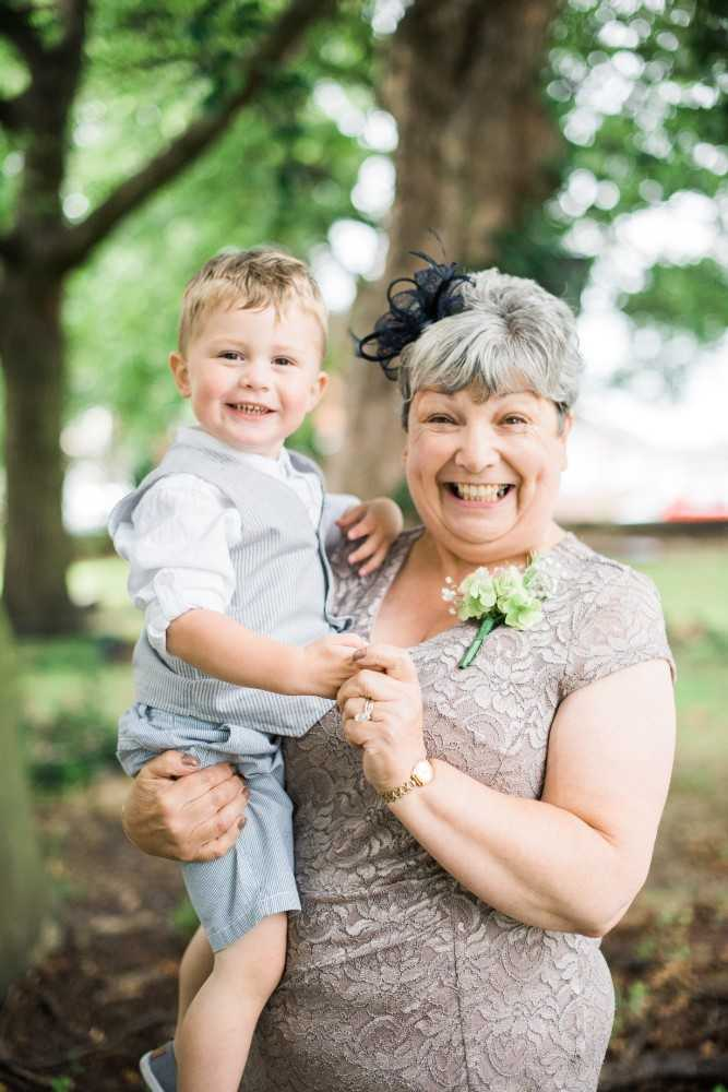 Mother of the bride and grandson at St Peter's Church Prestbury Wedding