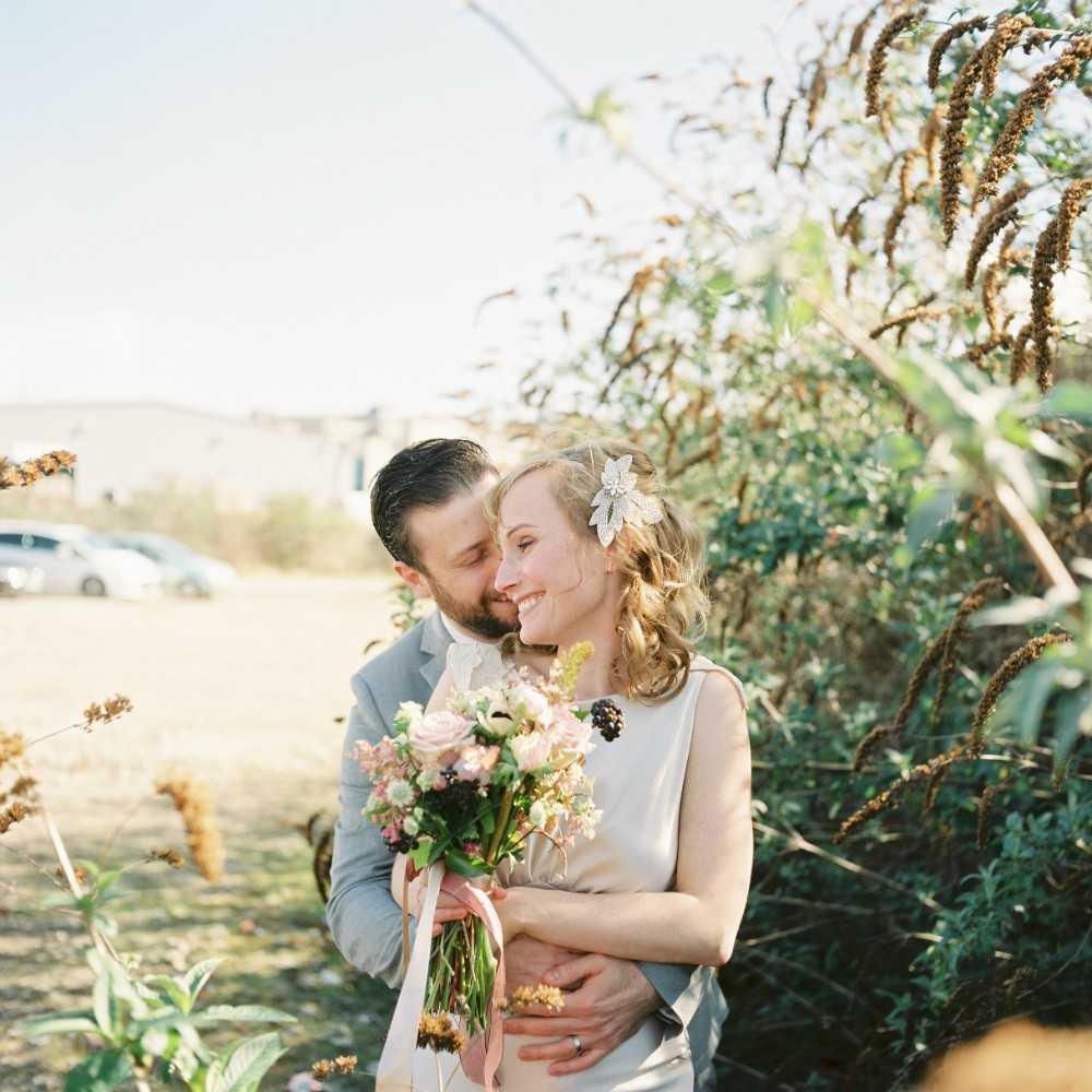 Bride and Groom at Hilltop Barn Wedding Poynton Stockport