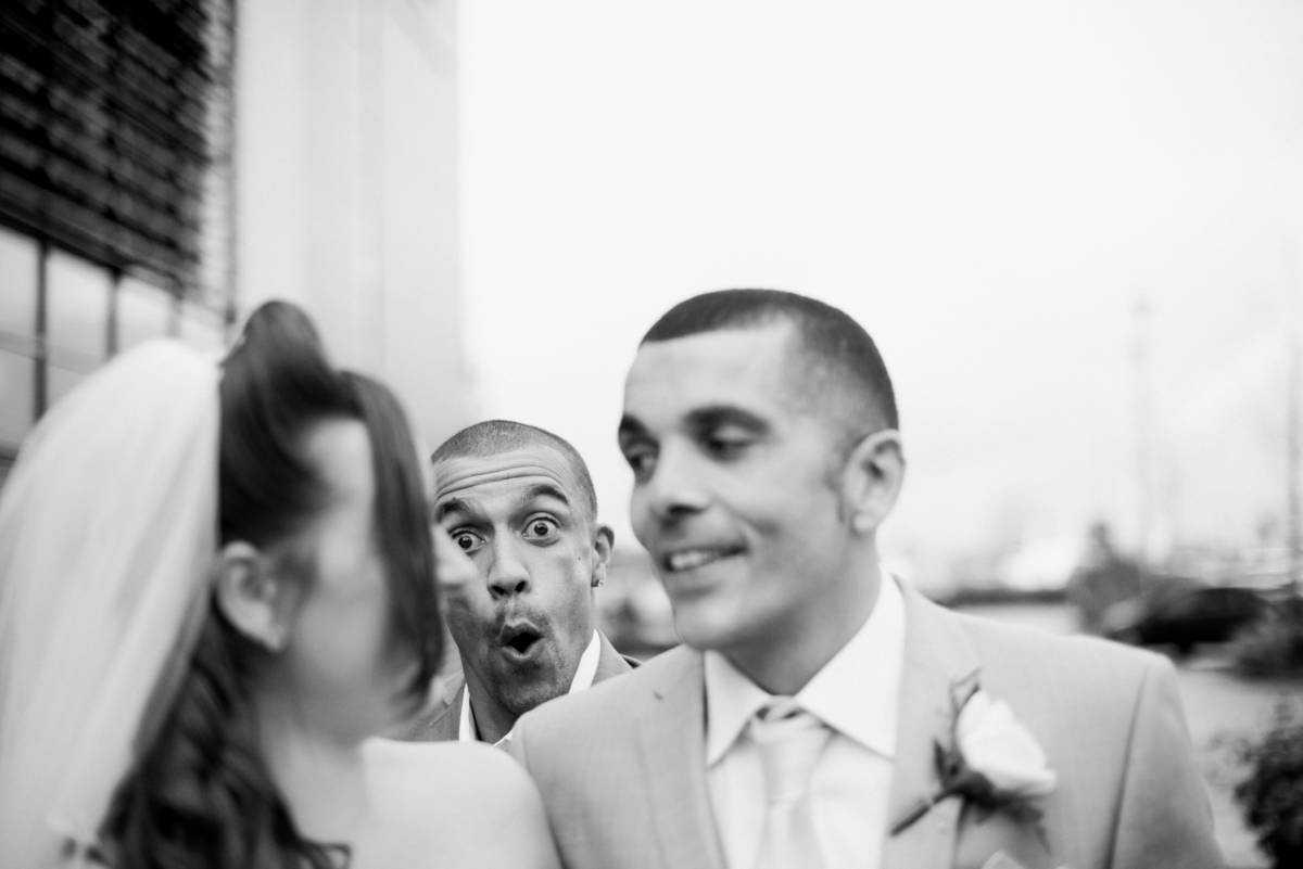 Wedding photo bomb at Manchester Wedding