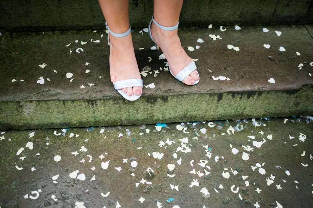 Wedding Confetti on the ground outside Stockport Town Hall