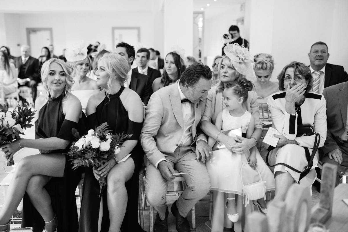 Wedding guests at Hilltop Barn Wedding Stockport
