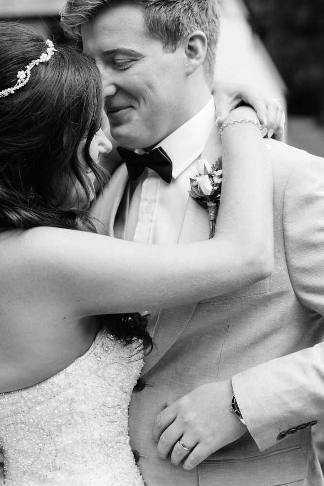 Bride and Groom Wedding Photograph Sandhole Oak Barn Wedding