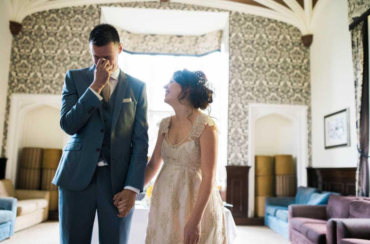 Bride laughs at Colshaw Hall Wedding