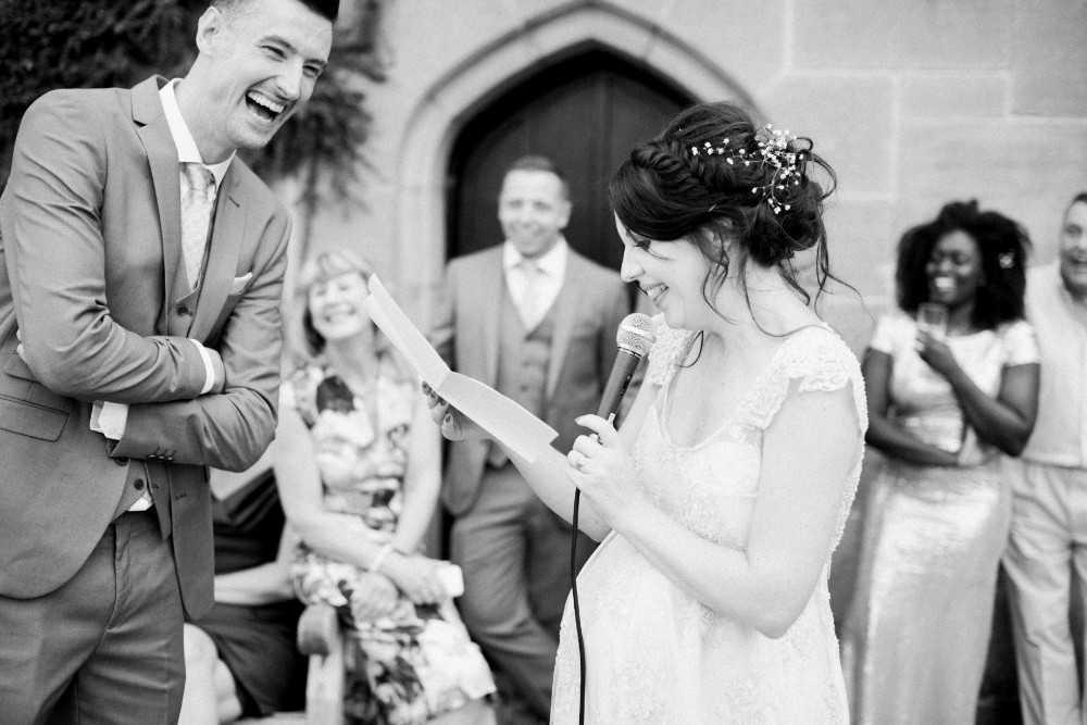 Bride and Groom Speeches at YHA Ilam Hall Wedding Ashbourne
