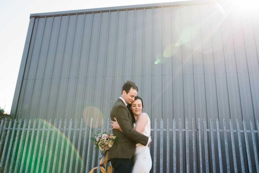 Urban wedding couple Castlefield Manchester